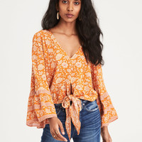 AE Long Sleeve Tie Front Top, Orange