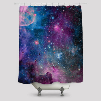 Deep Blue Milky Way Nebula Shower Curtain