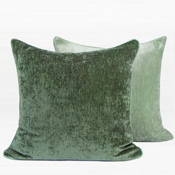 """Green and Light Green Two Side Solid Color flannel Pillow 20""""X20"""""""