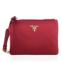 Prada Women's Vitello Red Leather Crossbody Shoulder Bag 1BH046