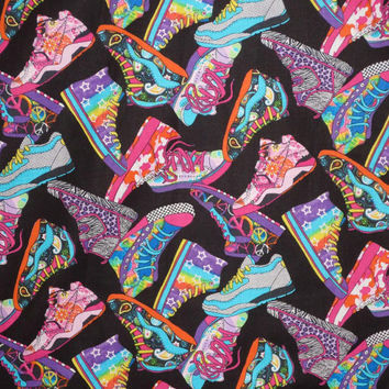 Colorful Tennis Shoes on Black Print Pure Cotton Fabric from Timeless Treasures--One Yard