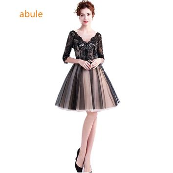 abule new black short Evening Dresses v-neck lace up ball gown Party prom dress Robe De Soiree plus size Evening gown 2018