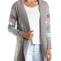 Fair Isle Open Front Cardigan by Charlotte Russe - Multi