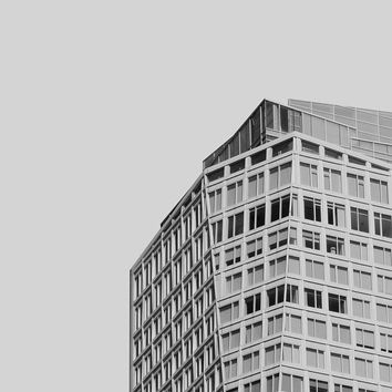 Everywhen - Modern Architecture, Black and White Wall Art, Surreal City Photography, Minimalist Home Decor, Geometric Gray