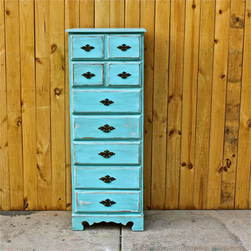 Bayside Blue Vintage Lingerie Chest/ Brown Glaze /VintageHardware /Bedroom Furniture/ Dresser/ TV Stand/ Storage/ Distressed