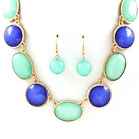 Blue and Mint Bubble Statement Necklace