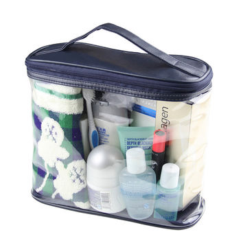 On Sale Hot Sale Beauty Hot Deal Blue Transparent Toiletry Kits Big Capacity Tote Bag Men Travel Storage Make-up Bag [8116028807]