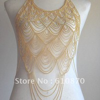 Fashion Trendy European Multilayered Body Chain- Gold