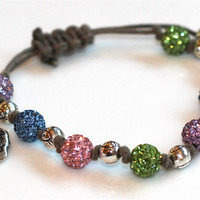 Khaki Cord Sparkle Evil Eye and Skull Skeleton Charms Bracelet Pink Green Blue Pave RhinestoneFizz Candy