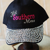 Hot Southern Mess Embroidered Baseball Hat With Bling