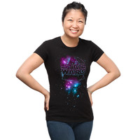 Dark Side of the Galaxy Fitted Ladies' Tee - Black,