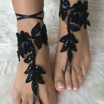 Free ship Black french lace gothic barefoot sandals wedding prom party steampunk burlesque vampire bangle beach anklets bridal