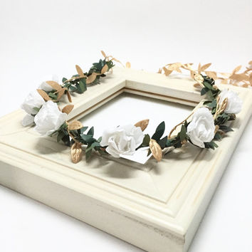 Ivory and Gold Pixie Crown - Flower Girl Crown, Baby Halo, Bridal Flower Crown, Baby Photo Prop, Boho Flower Crown, Flower Halo