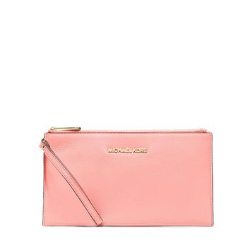 NWT MICHAEL KORS Bedford Large Zip Pale Pink Clutch Wristlet Wallet