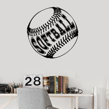 Vinyl Wall Decal Softball Ball Lettering Sports Fan Art Room Decor Stickers Mural Unique Gift (ig5098)