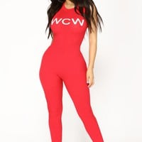 Woman Crush Wednesday Jumpsuit - Red
