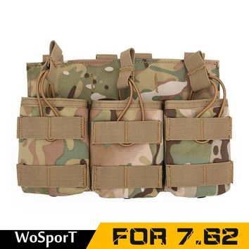 For 7.62 single double triple bag clip Camouflage Tactical Magazine Pouch  MOLLE Vest Belt Hunting Utility Flashlight Bags