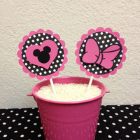Minnie Mouse Birthday Cupcake Toppers (12) - Baby Shower