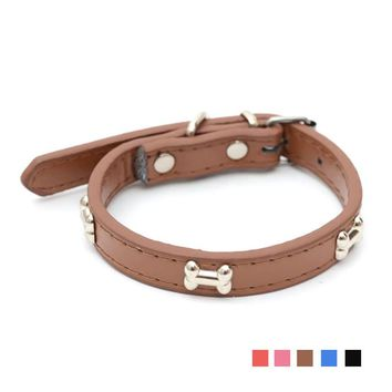 Leather Dog Collars Personalized With Pink Small Elegant Style Name