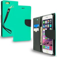 Mint Green / Black Leather Flip Wallet Pouch TPU Case Cover with ID Card Slots for Apple iPhone 6 Plus 6S Plus (5.5)