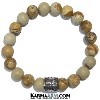 GOOD FORTUNE: Picture Jasper | Good Luck Symbol | Yoga Chakra Bracelet