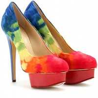 mytheresa.com -  Charlotte Olympia - DOLLY FEATHER PLATFORM PUMPS - Luxury Fashion for Women / Designer clothing, shoes, bags