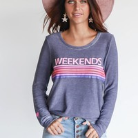 CHASER Cozy Knit Blue Jay Weekends Pullover