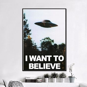 I Want To Believe X Files Classic Canvas Art Painting Print Poster Wall Pictures For Living Room Decorative Home Decor No Frame