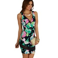 Navy Watercolor Floral Dress