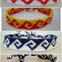 Greek waves - Two colored friendship bracelets MADE TO ORDER in different colors