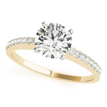 Marian Round Moissanite Peg Head Two-Tone Engagement Ring