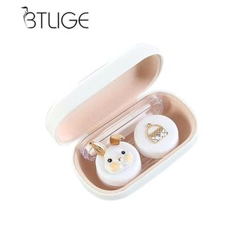 BTLIGE Contact lens case Cut Animal Glasses Case with Mirror Eyes Contact Lenses Box For Glasses Lens Container Glasses