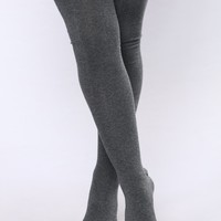 Say Bye Over The Knee Socks - Charcoal
