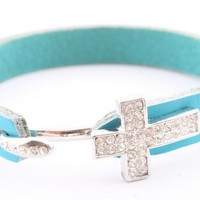 Blue Leather Bracelet with a Silver Iced Out Cross