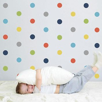 "36 Polka Dot Wall Decals, Navy Orange Gray Yellow Green Eco-Friendly 4"" Dot Fabric Wall Stickers"