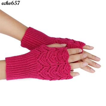 Echo657  Women's Warm Winter Brief Paragraph Knitting Half Fingerless Gloves Oct 21 PY