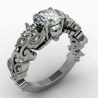 Skull Engagement Ring Silver 925