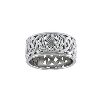 Scottish Thistle Celtic Knot Ring TR3875