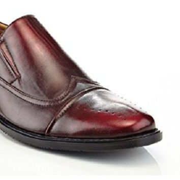 SOLO Men's Slip On Classic Dress Oxfords, Wine, 11