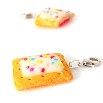 Miniature Poptart Charm- Miniature food jewelry,poptart pendants,Kawaii charms,Polymer clay jewelry,silver plated or gold plated necklace