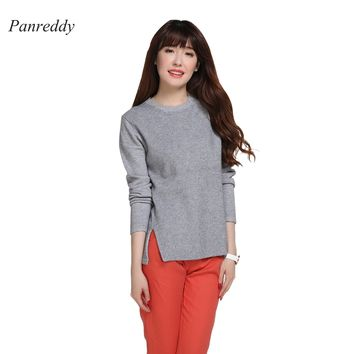 2016 Women's Cashmere Wool Knitted O Neck Long Sleeve Sweaters and Pullovers Slit Hem 15 Colors XXL