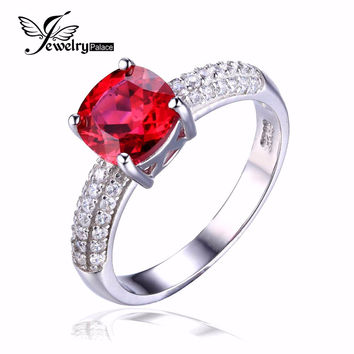 Hot Sale 2.78ct Pigeon Blood Red Ruby Engagement Wedding Ring Pure Solid 925 Sterling Solid Silver Square Cut Promotion Jewelry