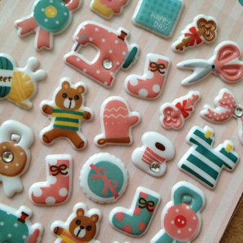 Button eyes bear puffy sticker Childhood toys sticker sewing machine seal label handmade craft tool clip part sticker mother gift card