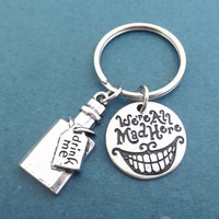 We're All Mad Here, Drink me, Key chain, Alice in wonderland, Drink, Bottle, Alice, Wonderland, Key ring, Birthday, Christmas, Gift