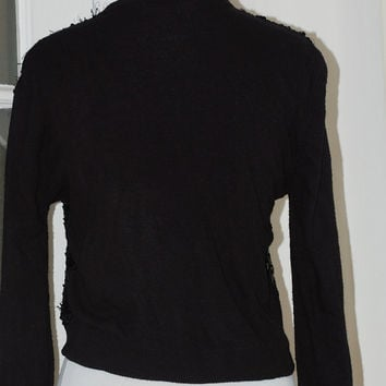 50s Cardigan, Sequins, Orlon, Black, Beaded, Sparkle, Sweater, Mid Century, Size Medium
