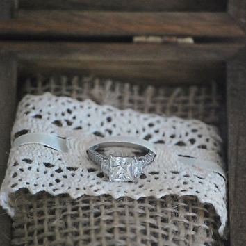 Custom Ring Bearer Box: Initials on the inside, Carved Ring Bearer Box