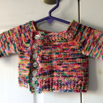 Newborn Baby Sweater- Multicolored Knit Baby Sweater