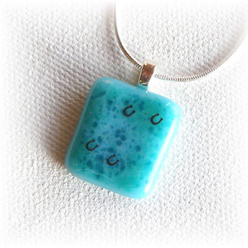 Fused Glass Pendant Necklace - Aqua Blue with Horseshoe Print Decals