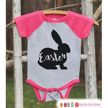 Girls Easter Outfit - Easter Bunny Shirt or Onepiece - Bunny Silhouette Easter Egg Hunt Shirt - Baby, Toddler, Youth - Happy Easter - Pink