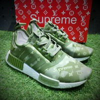Best Online Sale Louis Vuitton LV x Supreme x Adidas Customise NMD R1 Boost Men R_1 Green  White Sport Running Shoes BA7789